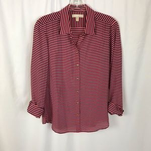 Banana Republic silk button down blouse navy pink